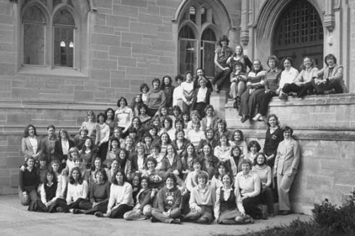 A historic photo with the first ever female graduates at St Thomas.