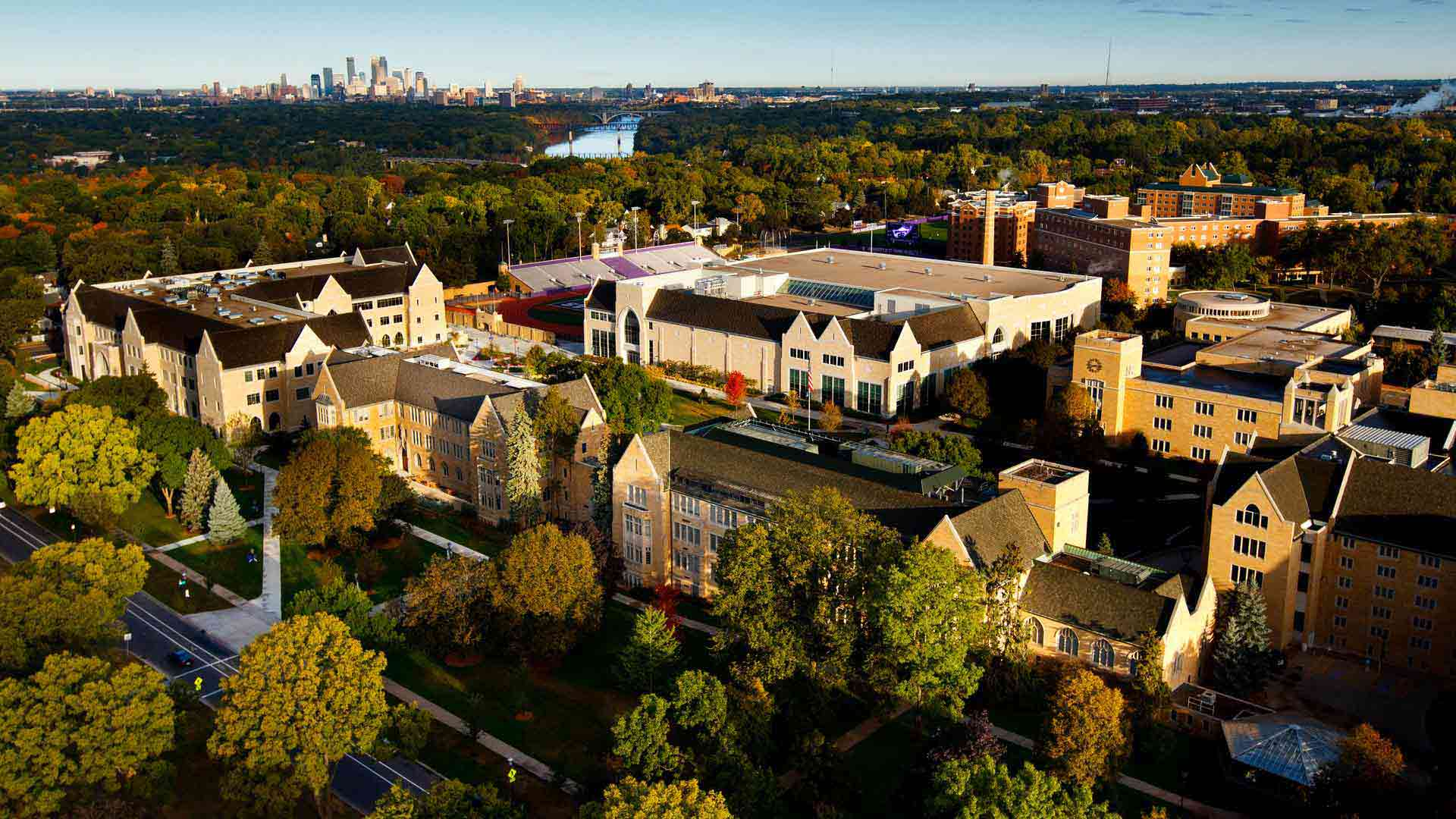 An aerial view of the St. Paul campus.