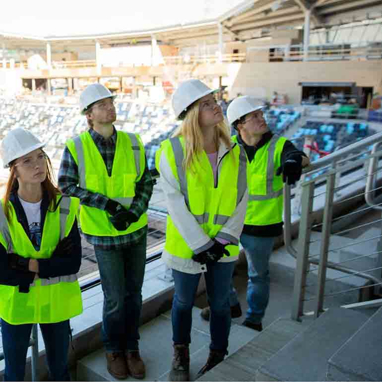 Project engineers from the Minnesota United FC soccer stadium with students