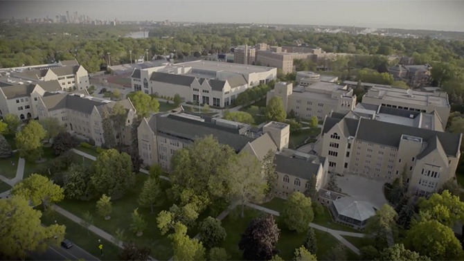 Aerial view of the St. Paul, University of St. Thomas campus.