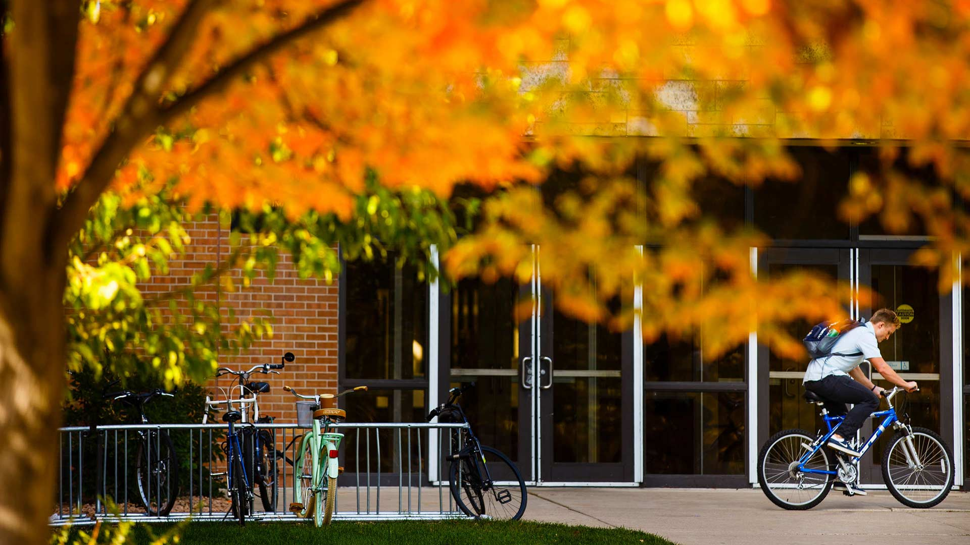 A student hops on his bike outside the entrance to Koch Commons October 11, 2016.