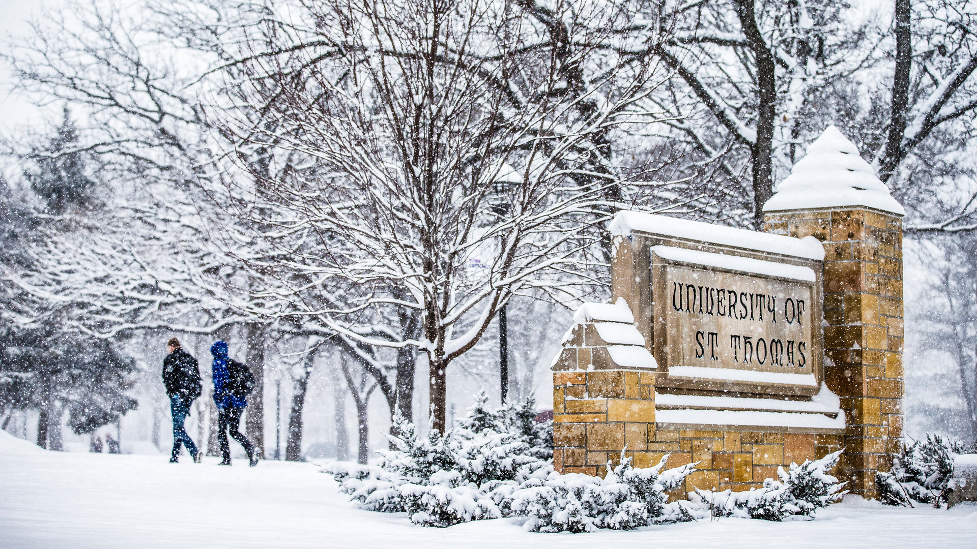 University of St. Thomas stone sign covered in snow.
