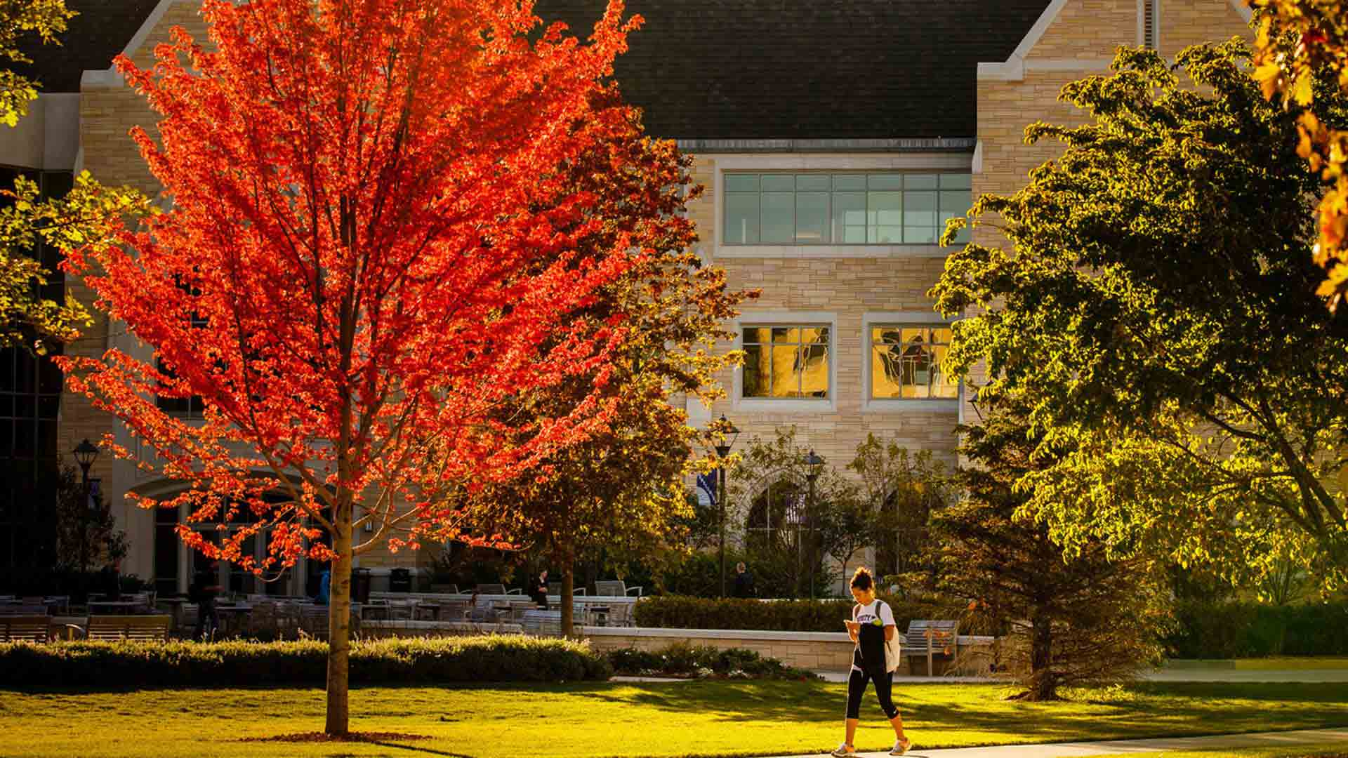 A student walks along a path in front of colorful trees and the Anderson Student Center.