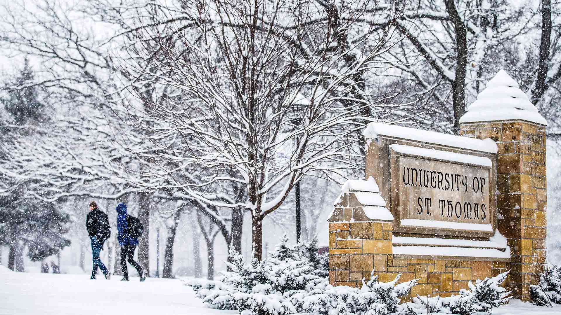 Stone University of St. Thomas sign covered in falling snow.