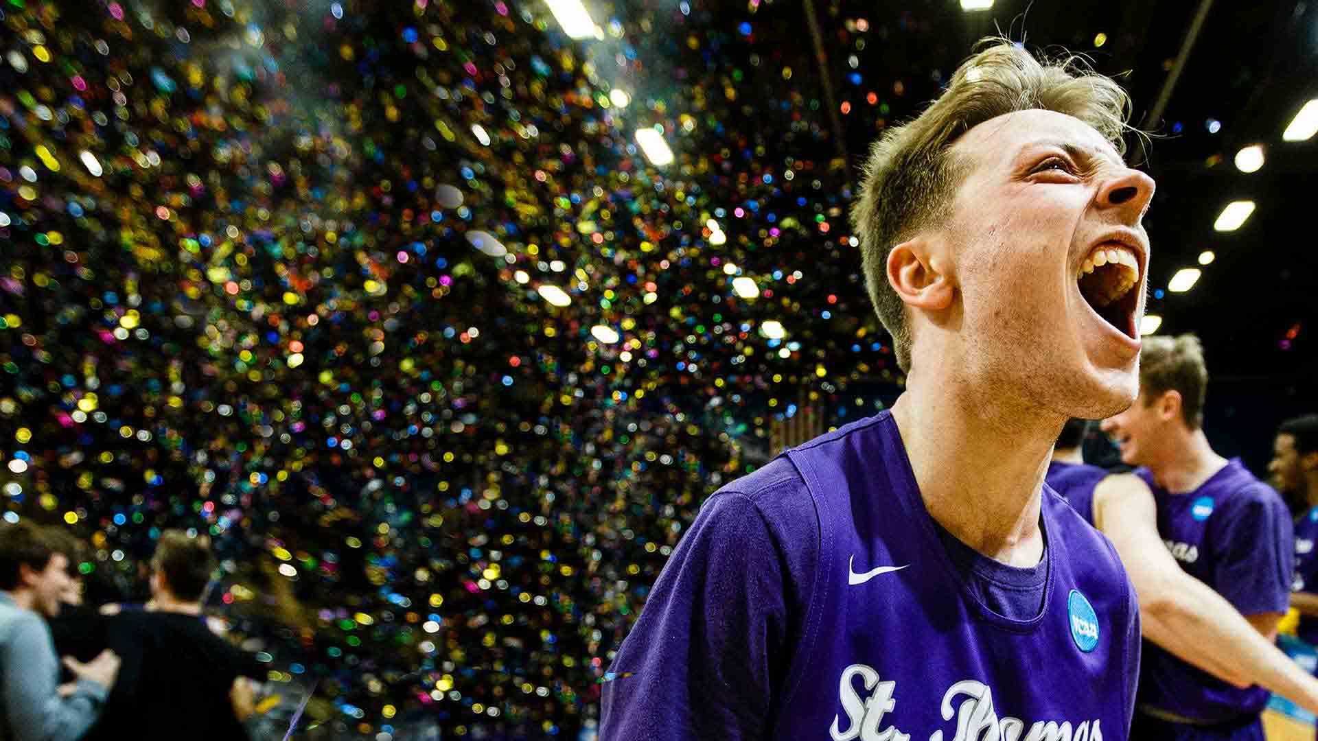 Grant Shaeffer celebrates a victory following the NCAA Division III men's basketball championship game.