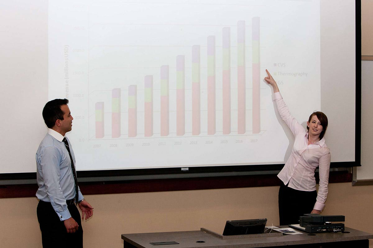 Aristotle Fund co-managers Jorge Rivas (left) and Rebecca Renier (right) present some data.
