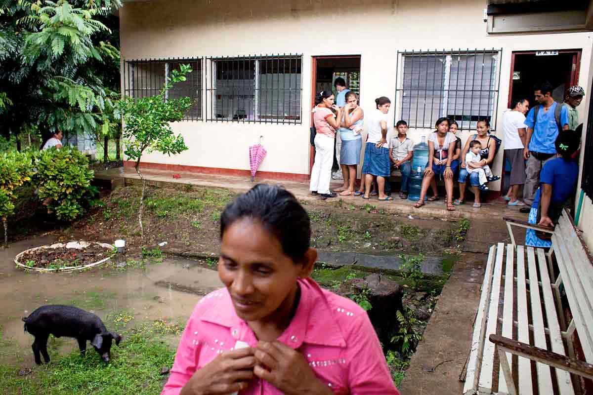 People wait to be seen in the medical and dental clinics in Los Chiles, Nicaragua.