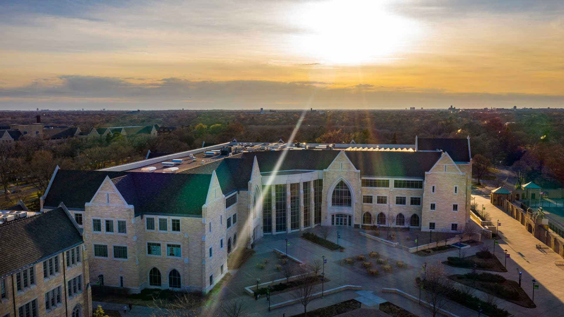 aerial view of Anderson Student Center with sunlight peeking over the roof