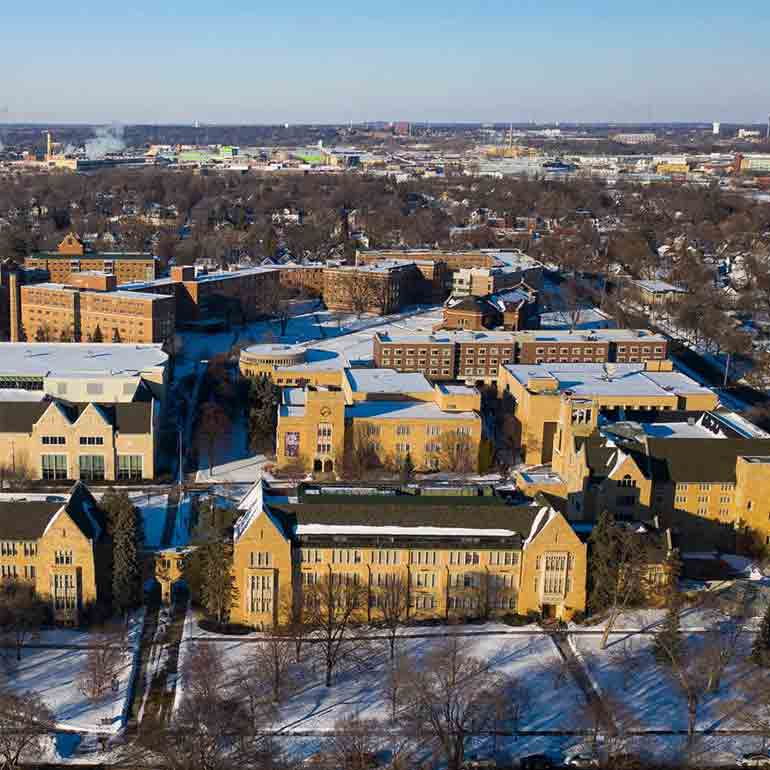 aerial view of campus in St. Paul on a sunny day with fresh snow