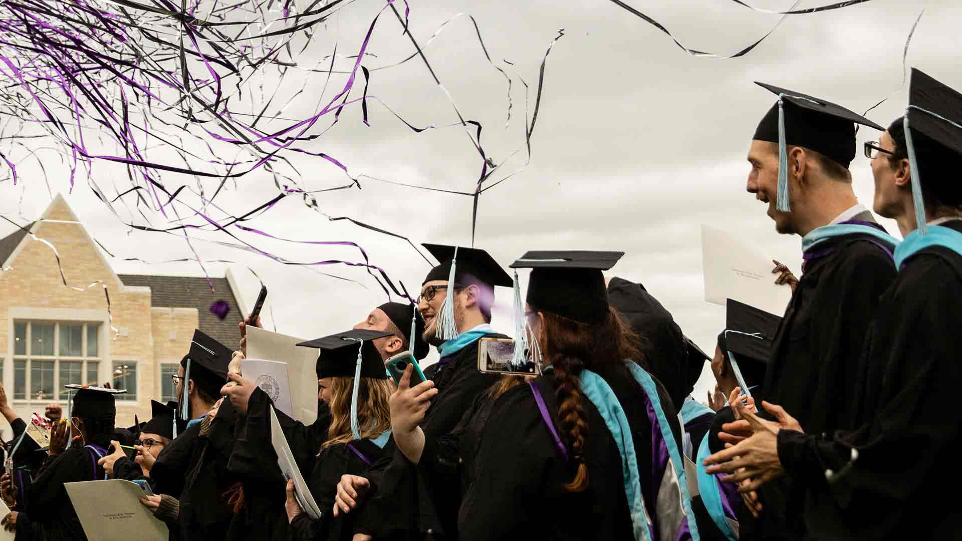 students at a graduation commencement ceremony