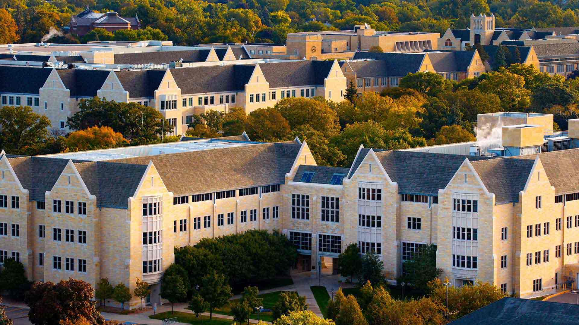 The St. Paul campus is seen from the south campus in this aerial view.