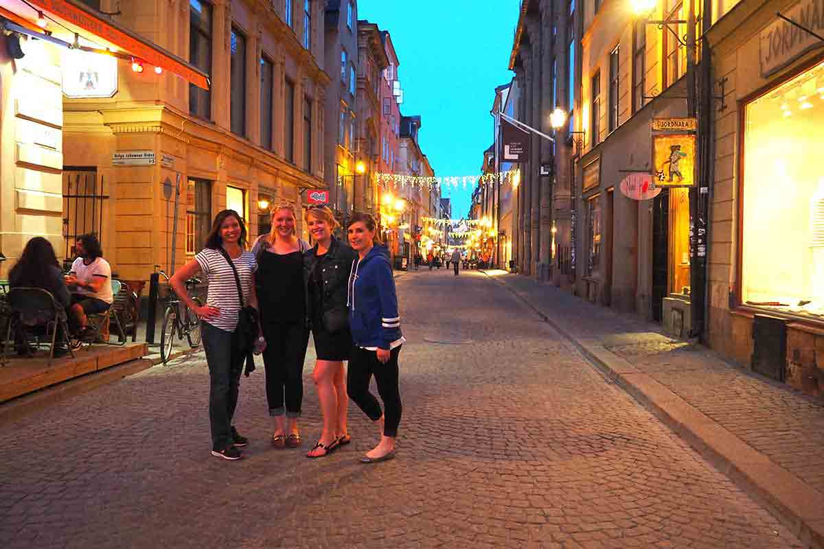 Opus College of Business students posing for a photo in Stockholm, Sweden.