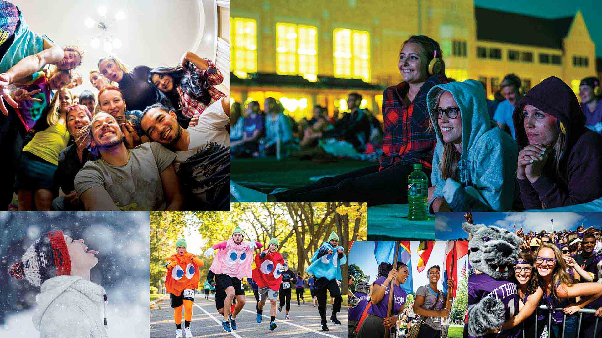 Student life collage featuring football games, movies nights and other student activities