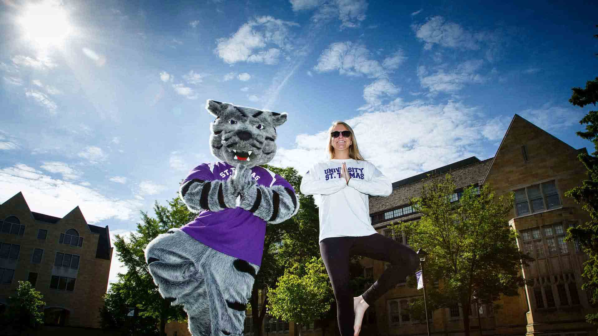 Student and mascot Tommie the Tomcat perform yoga poses.