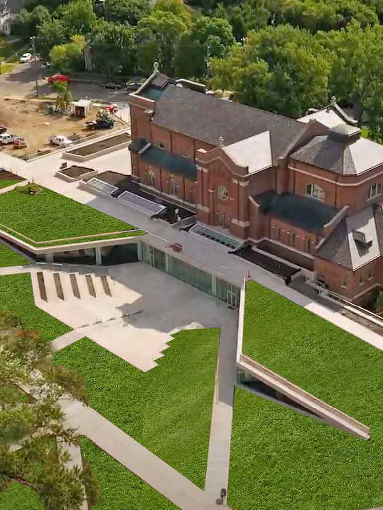 aerial view of the roof of the Chapel and Iversen Center for Faith