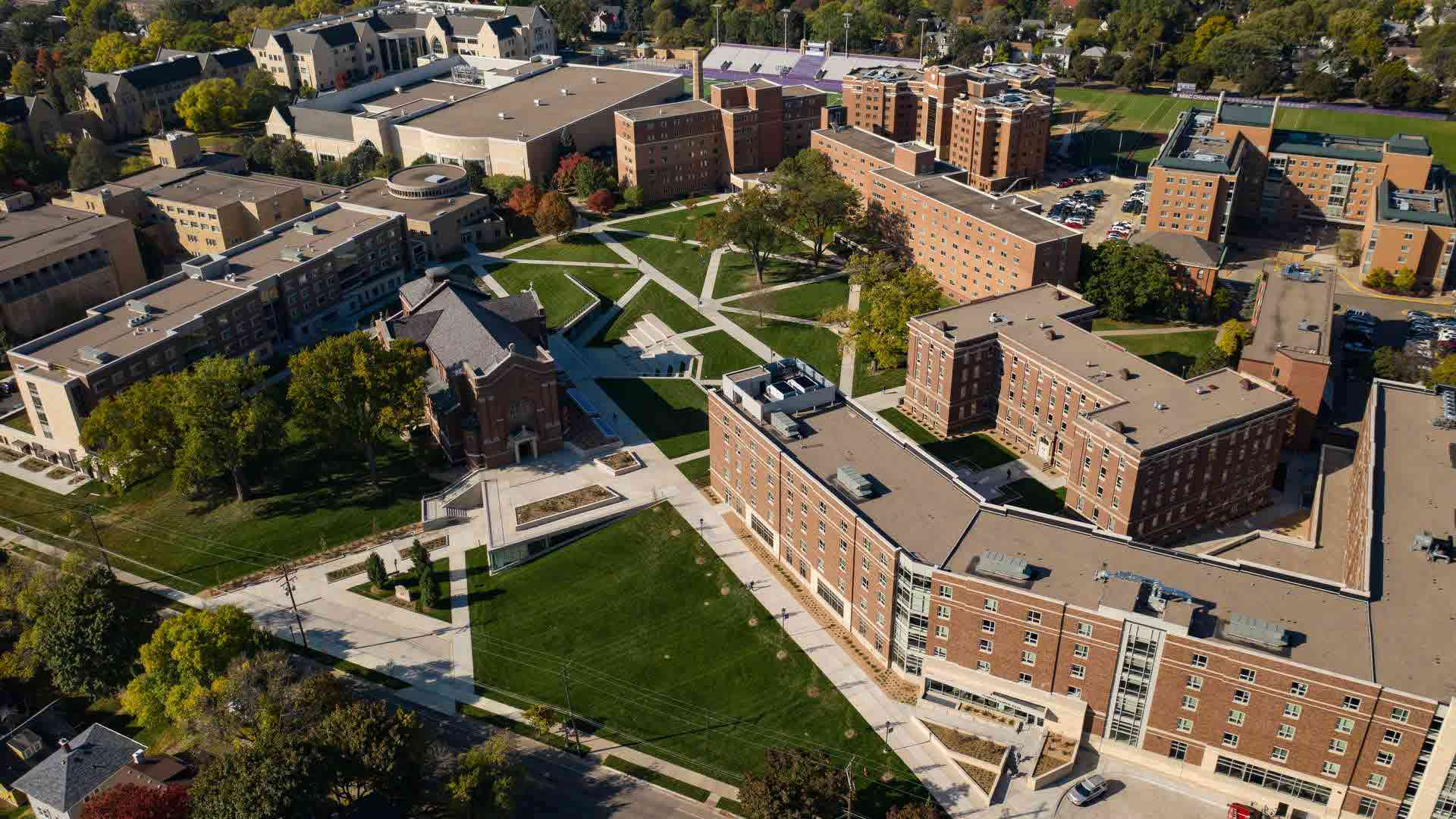 aerial view of residence hall buildings