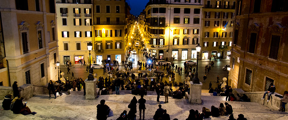 The Spanish Steps are seen at dusk in Rome Italy, on March 01, 2013.