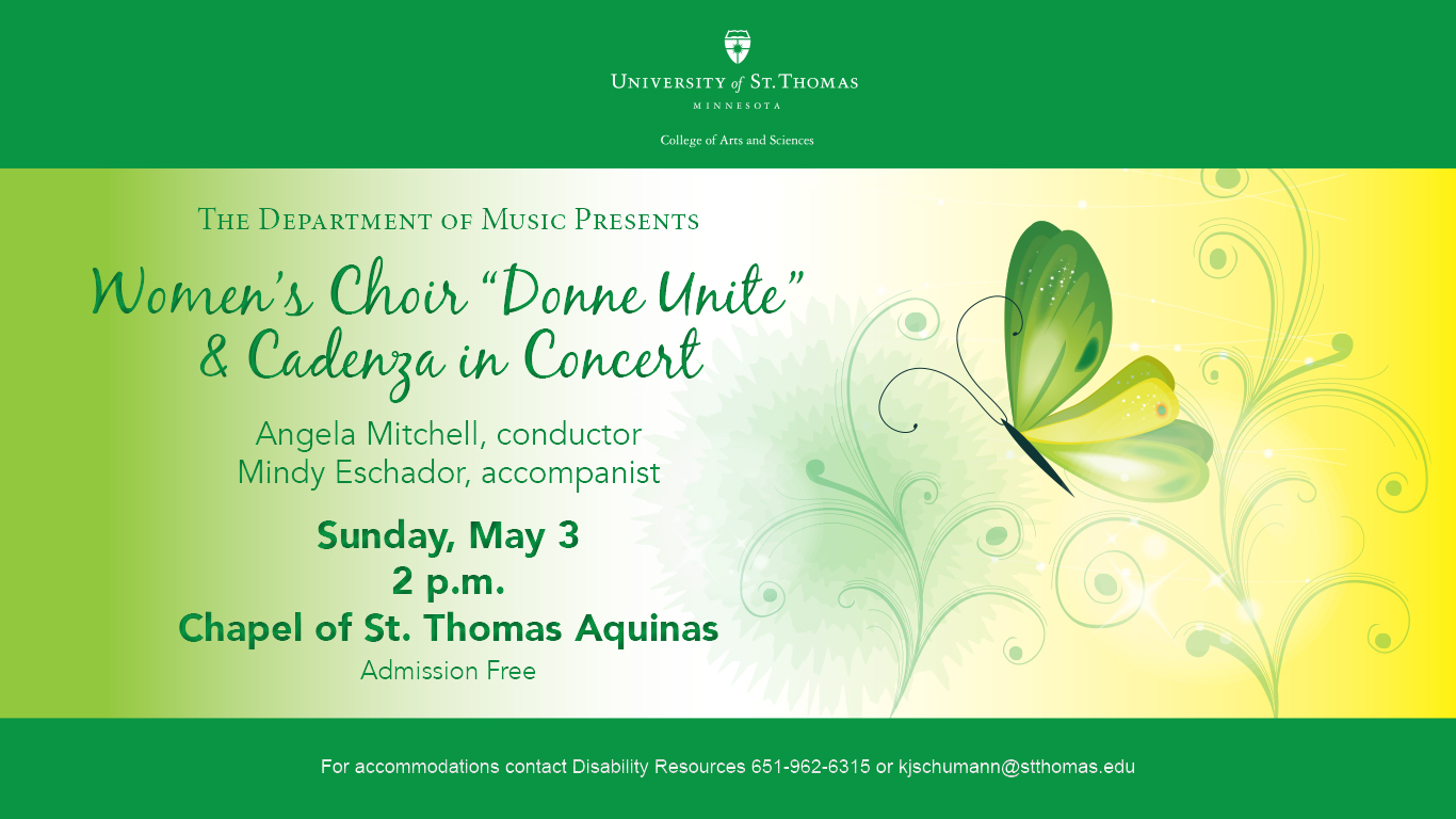 Digital poster advertising May 2015 Women's Choir concert