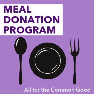 meal donation plate, fork, spoon image