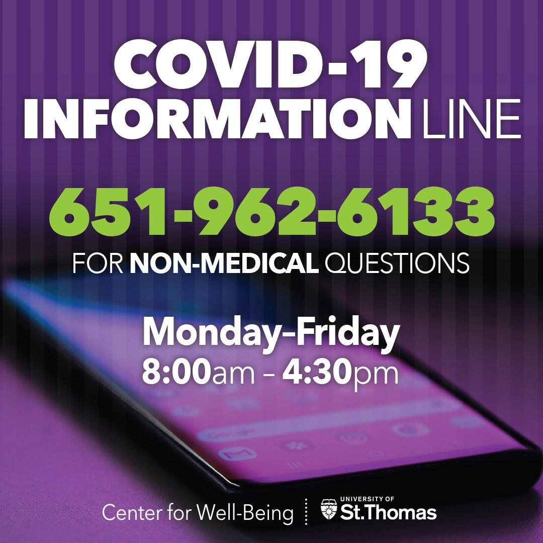 the COVID-19 Information Line phone number 651-962-6133.