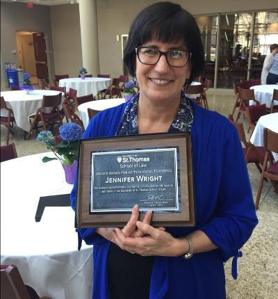 Jennifer Wright recognized with the Dean's Award for Outstanding Teaching.