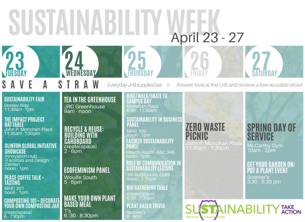 Schedule of events for sustainability week, April 2019