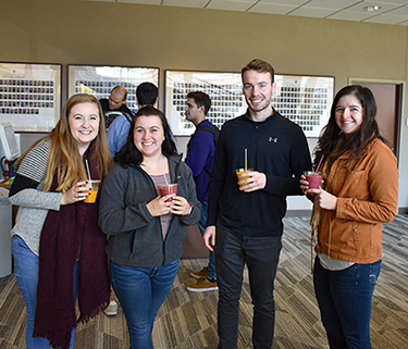 Four law students enjoy smoothies during Wellness Week