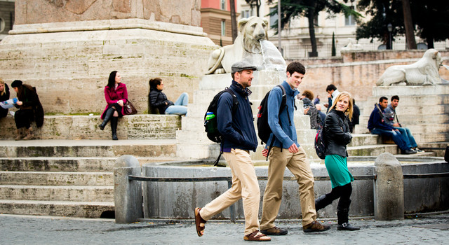 University of St. Thomas study abroad students walk through Piazza del Popolo in Rome, Italy, on March 01, 2013.